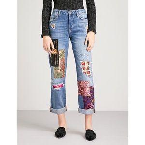 Free People luxe patchwork boyfriend jeans size 29